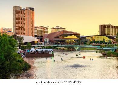Adelaide, Australia - January 26, 2018: Adelaide city skyline at sunset viewed across Torrens river from King William bridge