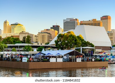 Adelaide, Australia - January 26, 2018: The Pontoon bar with people at Riverbank in Adelaide city on Australia Day celebration