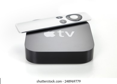 Adelaide, Australia - January 27, 2015: View of a third generation Apple TV and its remote control. The Apple TV is a digital media player developed by Apple Inc