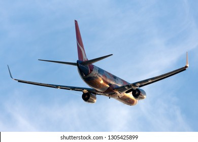 Adelaide, Australia - January 4, 2013: Qantas Boeing 737 VH-VXB taking off from Adelaide Airport.