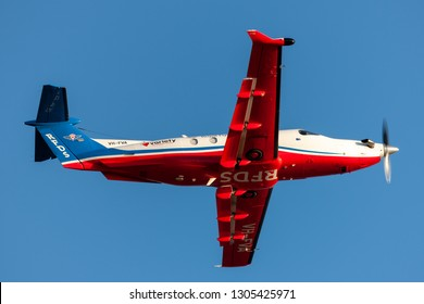 Adelaide, Australia - January 5, 2013: Royal Flying Doctors Service of Australia Pilatus PC-12 single engine air ambulance aircraft taking off from Adelaide Airport.