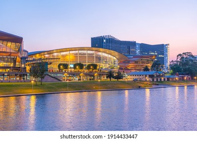 ADELAIDE, AUSTRALIA, JANUARY 5, 2020: Sunset view of Adelaide Convention center on Riverside of Torrens in Australia