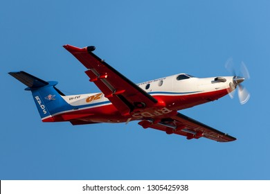 Adelaide, Australia - January 7, 2013: Royal Flying Doctors Service of Australia Pilatus PC-12 single engine air ambulance aircraft taking off from Adelaide Airport.