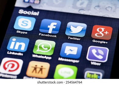 Adelaide, Australia - July 5, 2013: Close-up image of an iPhone screen with icons of social media apps
