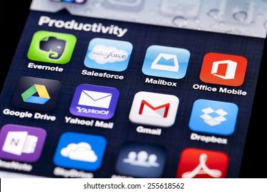 Adelaide, Australia - July 5, 2013: Close-up image of an iPhone screen with icons of productivity apps