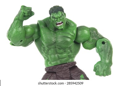ADELAIDE, AUSTRALIA - June 08 2015 : A studio shot of a Hulk action figure on a white background. Marvel toys are highly sought after collectables.