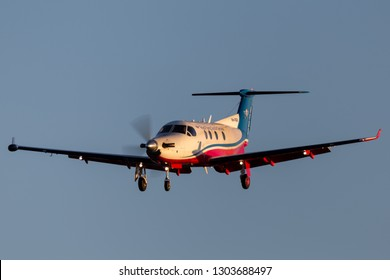 Adelaide, Australia - June 10, 2013: Royal Flying Doctors Service of Australia Pilatus PC-12 single engine air ambulance aircraft on approach to land at Adelaide Airport.