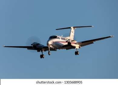 Adelaide, Australia - June 10, 2013: Royal Flying Doctors Service of Australia Beechcraft Super King Air 200 twin engined turboprop aircraft on approach to land at Adelaide Airport.