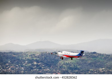 Adelaide, Australia - June 22, 2013: Royal Flying Doctor Service plane taking off from Adelaide airport.