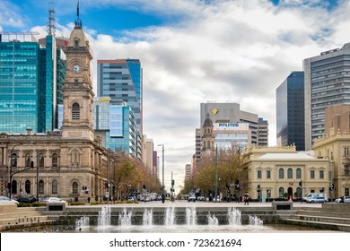 Adelaide, Australia - June 28, 2017: Victoria Square viewed from South to North with office buildings and traffic at morning time