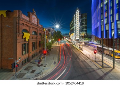 Adelaide, AUSTRALIA - Mar 14, 2018: Moderm and Traditional Iconic Buildings in North Terrace at Night