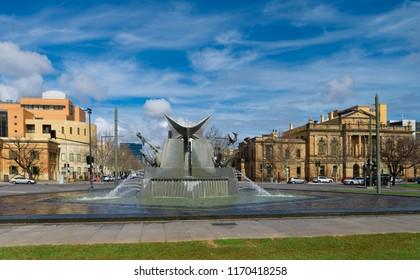 Adelaide, AUSTRALIA - Mar 14, 2018: the fountain in Victoria Square, historical centre of Adelaide city