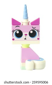 ADELAIDE, AUSTRALIA - March 10 2015:A studio shot of a Unikitty Lego minifigure from the Lego movie. Lego is extremely popular worldwide with children and collectors.