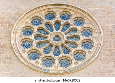 Adelaide, Australia - March 16, 2017. Exterior of rose window of St Peter's Cathedral in Adelaide.