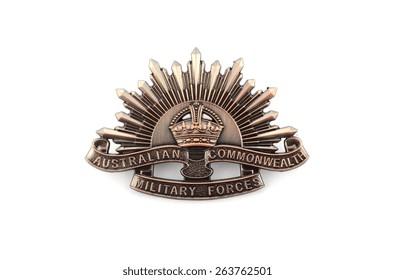 ADELAIDE, AUSTRALIA - MARCH 18, 2015: Australian Anzac WWI rising star hat badge on white background.