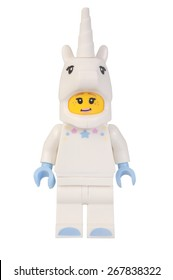 ADELAIDE, AUSTRALIA - March 20 2015:A studio shot of a Unicorn Girl Lego minifigure from Minifigure Series 13. Lego is extremely popular worldwide with children and collectors.