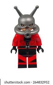 ADELAIDE, AUSTRALIA - March 27 2015:A studio shot of an Ant Man Custom Lego minifigure from the Marvel Comics. Lego is extremely popular worldwide with children and collectors.