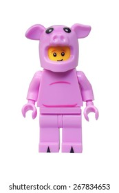 ADELAIDE, AUSTRALIA - March 27 2015:A studio shot of a Piggy Guy Lego minifigure. Lego is extremely popular worldwide with children and collectors.