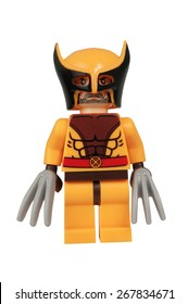 ADELAIDE, AUSTRALIA - March 27 2015:A studio shot of a Wolverine Custom Lego minifigure from the Marvel Comics. Lego is extremely popular worldwide with children and collectors.