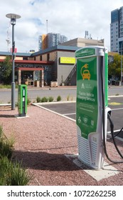 Adelaide, Australia - March 29, 2018: View of an electric car charging station located next to a car park near Bowen Street within the city.