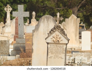 Adelaide, Australia - March 29 2018: View of multiple headstones at the West Terrace Cemetery.
