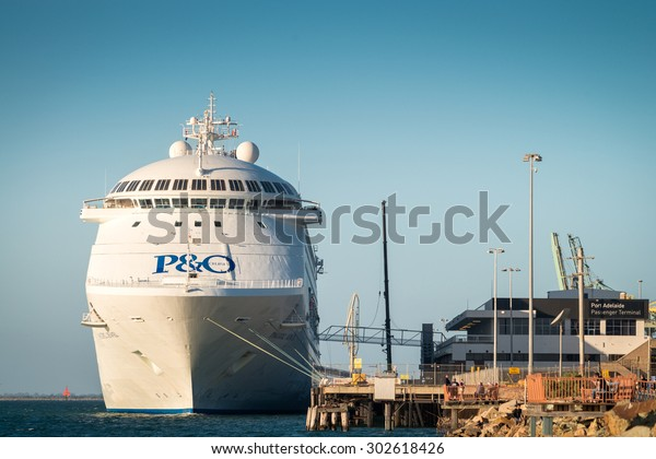 Adelaide, Australia - March 5, 2015: P&O Pacific Jewel cruise ship is docked at Port Adelaide to pick up passengers, Outer Harbour, South Australia