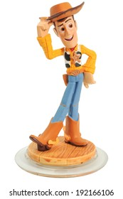 ADELAIDE, AUSTRALIA - May 01 2014: A studio shot of the Disney Infinity character Woody from the movie Toy Story. The popular game is available worldwide on all major consoles.