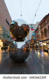 Adelaide, Australia - May 11, 2019: Malls Balls and Rundle street mall view at dusk.