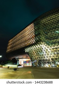 Adelaide, Australia - May 11, 2019: Front side facade view of SAHMRI building at night.