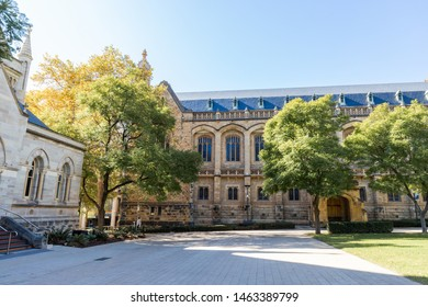 Adelaide, Australia - May 14, 2019: Side view of Bonython Hall at University of Adelaide.