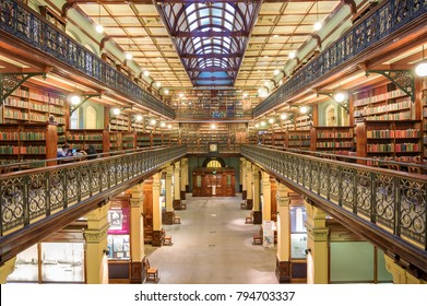 Adelaide, Australia - November 10, 2017: Interior of public State Library of South Australia with rows of bookshelves