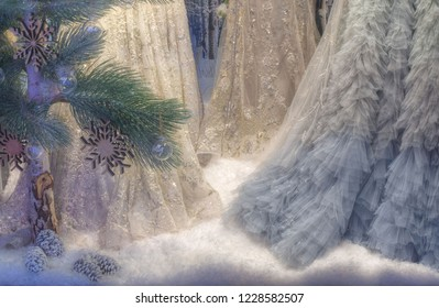 Adelaide, Australia - November 10 2018: View of an elaborate Christmas display with artificial snow, pine tree and womens dresses in Rundle Mall.