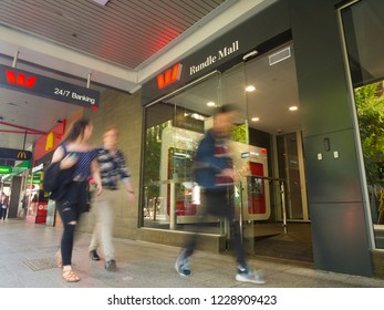 Adelaide, Australia - November 10 2018: Pedestrians walk past a Wespac bank branch in Rundle Mall in the heart of the city.