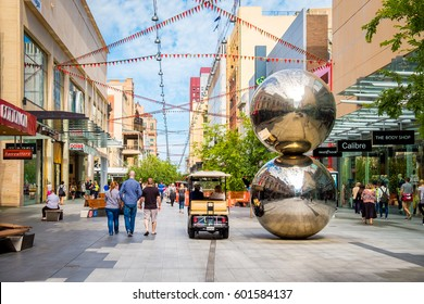 Adelaide, Australia - November 11, 2016: Rundle Mall and famous balls looking towards west in Adelaide CBD on a day. Rundle Mall is the premier shopping area of South Australia
