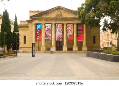 Adelaide, Australia - November 11 2017: The Art Gallery of South Australia on North Terrace features an impressive collection of artworks from around the world.