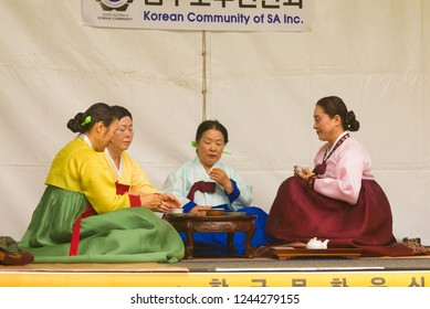 Adelaide, Australia - November 11 2017: A group of women participate in a traditional tea ceremony at the Korean Culture and Food Festival.