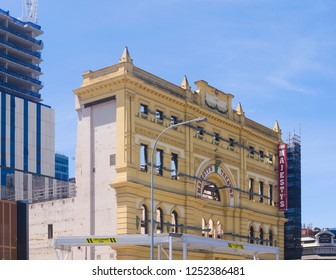 Adelaide, Australia - November 11 2018: Restoration begins on Her Majesty's Theatre while retaining the building's original facade.