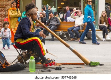 Adelaide, Australia - November 12, 2016: Rundle Mall, located in Adelaide's city center, is a popular place for shopping and also serves as a venue for street performers.