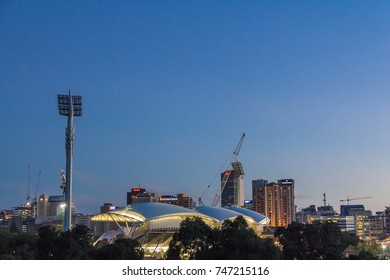 Adelaide, Australia - November, 2016 - View of Adelaide Oval and River Torrens Foot Bridge at night.