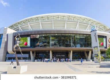 Adelaide, Australia - November 27, 2015: View of Adelaide Oval stadium, a venue mainly for cricket and football matches, and people in Adelaide during daytime.