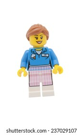 ADELAIDE, AUSTRALIA - November 30 2014:A studio shot of a Ice Cream Jo Lego minifigure from the Lego movie. Lego is extremely popular worldwide with children and collectors.