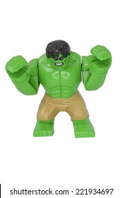 ADELAIDE, AUSTRALIA - October 06 2014:A studio shot of a Hulk Lego Compatible minifigure from the Marvel comics and movies. Lego is extremely popular worldwide with children and collectors.