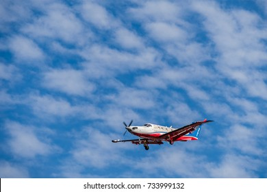 Adelaide, Australia - October 1, 2016: Pilatus PC-12 of Royal Flying Doctor Service aircraft, RFDS Central Operations with registration number VH-FDE landing at Adelaide airport.