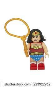ADELAIDE, AUSTRALIA - October 14 2014:A studio shot of a Wonder woman Lego Compatible minifigure from the DC Comics and Movies. Lego is extremely popular worldwide with children and collectors.