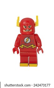 ADELAIDE, AUSTRALIA - October 14 2014:A studio shot of the Flash Lego Compatible minifigure from the DC Comics and Movies. Lego is extremely popular worldwide with children and collectors.