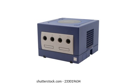 ADELAIDE, AUSTRALIA - October 17, 2014: A studio shot of a Nintendo Gamecube console. A popular game console sold by nintendo worldwide during the early 2000's.