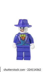 ADELAIDE, AUSTRALIA - October 17 2014:A studio shot of a Joker Lego minifigure from the DC Comics and Movies. Lego is extremely popular worldwide with children and collectors.