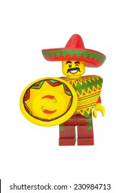 ADELAIDE, AUSTRALIA - October 18 2014:A studio shot of a Taco Tuesday Guy Lego minifigure from the Lego movie. Lego is extremely popular worldwide with children and collectors.
