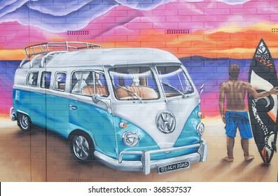 ADELAIDE, AUSTRALIA - October 18, 2015: Street art by unidentified artist in Christies Beach. Adelaide city council recognises the importance of street art in creating a vibrant city.