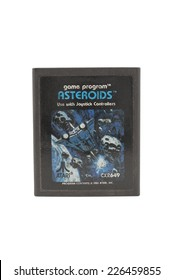 ADELAIDE, AUSTRALIA - October 27, 2014: A Studio shot of an Atari 2600 Asteroids Game Cartridge. Originally available in the 1980's is now considered a collectors item.